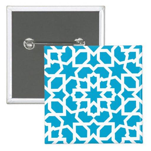 Azulejo del mosaico marroqu en azul pin zazzle for Mosaico marroqui