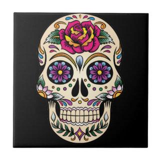 Azulejo Día del cráneo muerto del azúcar con el rosa