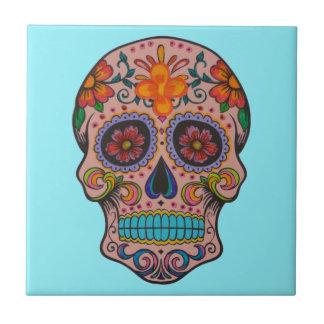 Azulejo Día mexicano de la turquesa de cerámica del cráneo