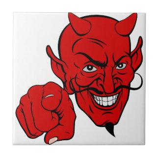 Azulejo Diablo que señala el personaje de dibujos animados
