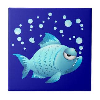 Azulejo Dibujo animado gruñón de los pescados