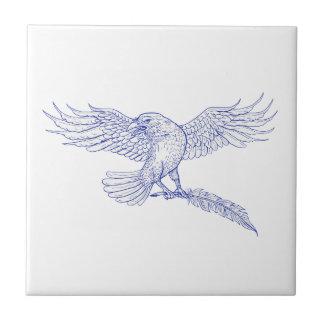 Azulejo Dibujo de la canilla del cuervo que lleva