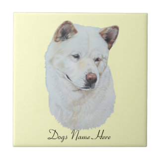 Azulejo Diseño blanco del arte del retrato del perro del