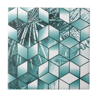 Azulejo Diseño cúbico tropical de las hojas de palma del