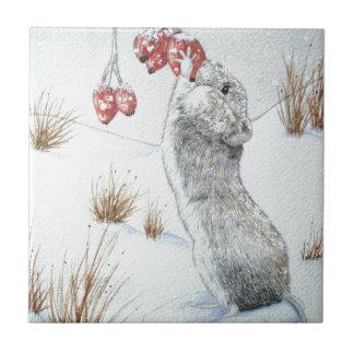 Azulejo Diseño rojo de la fauna de la escena de la nieve