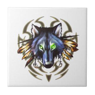 Azulejo Diseño tribal del tatuaje del lobo