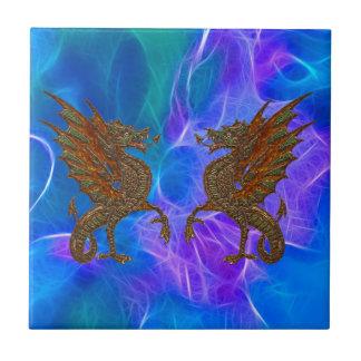Azulejo Dragones célticos Galés en oro en azules III