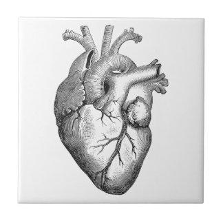 Azulejo Ejemplo blanco negro simple del corazón de la