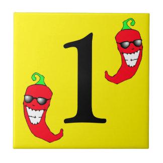 Azulejo El chile rojo fresco número caliente uno de las