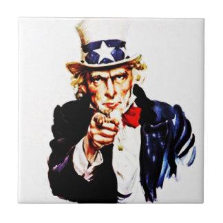 Azulejo El tío Sam de los E.E.U.U. del vintage le quiere