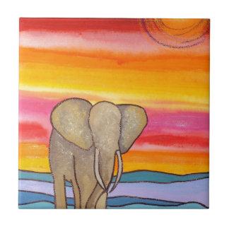 Azulejo Elefante en la puesta del sol en África (K.