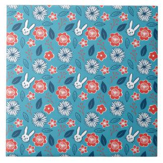 Azulejo Estampado de flores de Kawaii Usagi
