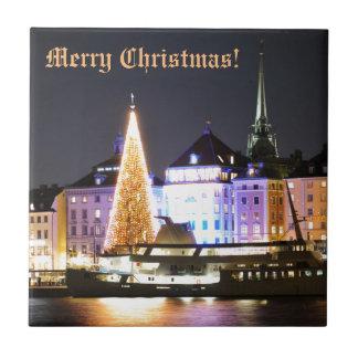 Azulejo Estocolmo, Suecia en el navidad en la noche