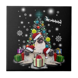 Azulejo Felices Navidad con el animal del perro del barro