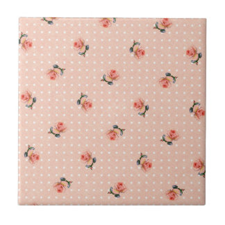 Azulejo Floral rosado y puntos del vintage