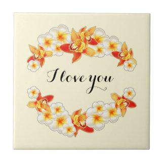 Azulejo Flores de la orquídea y del Plumeria, elegantes te