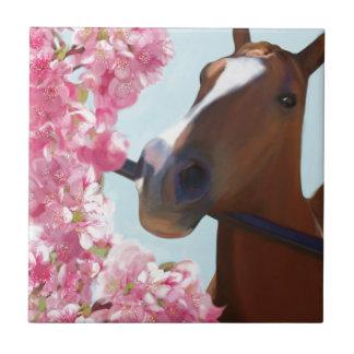 Azulejo Flores rosados del caballo
