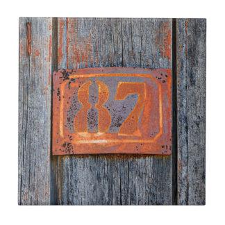 Azulejo Foto metalizado oxidada de no. 87 del número de