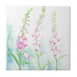 Azulejo Foxgloves rosados de la acuarela
