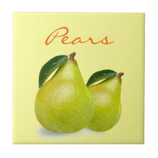 Azulejo Fruta verde de la pera con las hojas que redactan