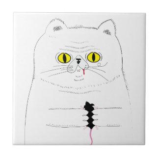 Azulejo Gato con el dibujo divertido del ratón