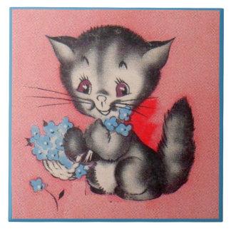 Azulejo gato dulce del gatito
