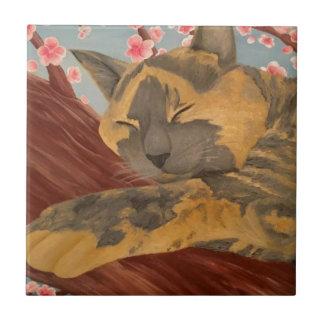 Azulejo Gato el dormir de la flor de cerezo