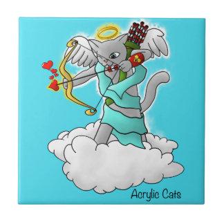 Azulejo Gato gris del Cupid de Smokey del el día de San