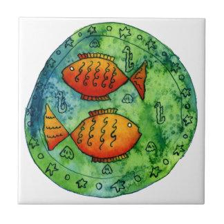 Azulejo Goldfish dos en el mar