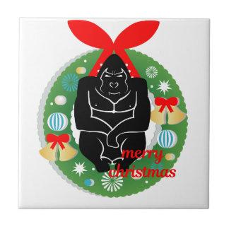 Azulejo gorila de las Felices Navidad