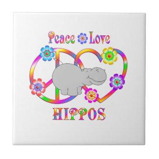 Azulejo Hipopótamos del amor de la paz
