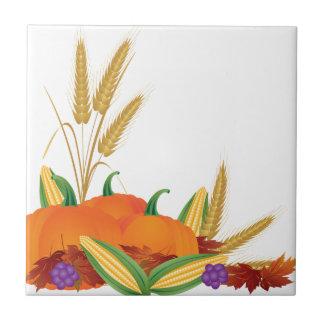 Azulejo Ilustracion de la cosecha de la caída