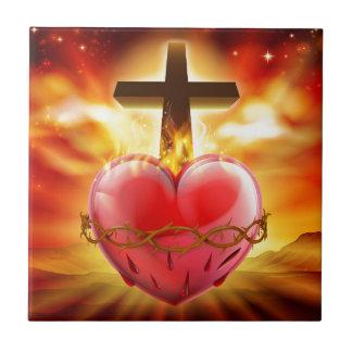 Azulejo Ilustracion sagrado del cristiano del corazón