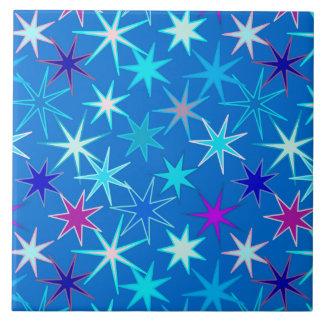 Azulejo Impresión moderna de Starburst, azul cerúleo