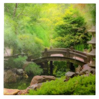 Azulejo Jardín japonés - agua debajo del puente
