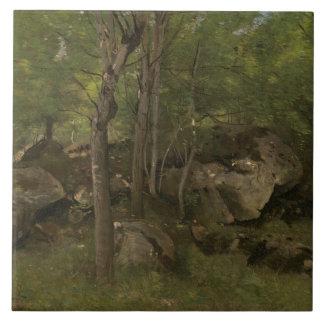 Azulejo Jean-Baptiste-Camilo Corot - rocas en el bosque