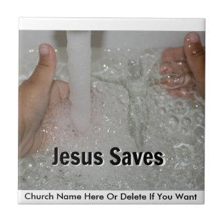 Azulejo Jesús en agua con dos pulgares sube la promoción