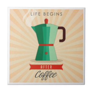 Azulejo La vida comienza después de café