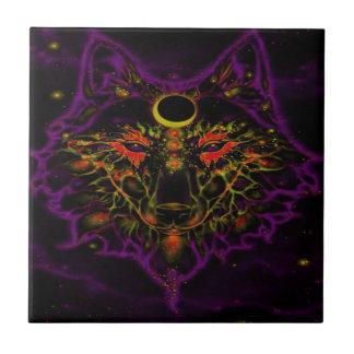 Azulejo Lobo púrpura de neón mítico