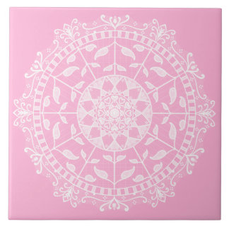 Azulejo Mandala color de rosa