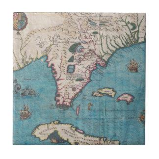 Azulejo Mapa antiguo de la Florida y de Cuba