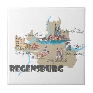 Azulejo Mapa de Regensburg Alemania