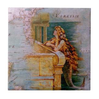 Azulejo Mapa y sirena náuticos antiguos