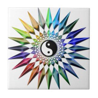 Azulejo Meditación colorida Tao de Yin Yang de la yoga