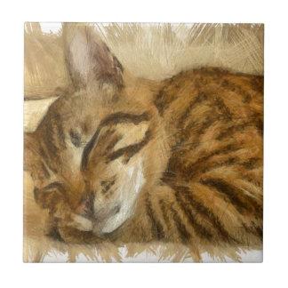 Azulejo Mentira dejada de los gatos el dormir