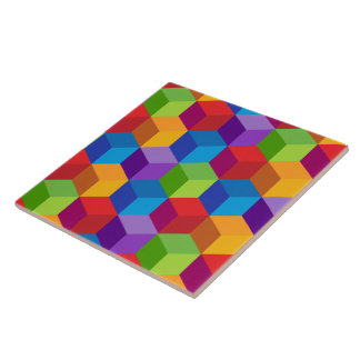Azulejo Modelo colorido del cubo del bloque del arco iris