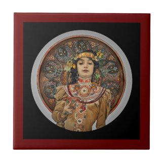 Azulejo Mujer con el vidrio de Champán
