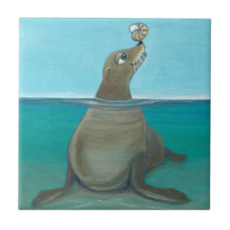 """Azulejo """"Nautilus"""" el león marino"""