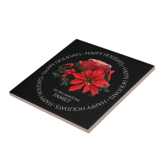 Azulejo Navidad rojo festivo vela, acebo y Poinsettia