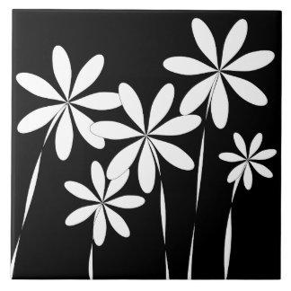 Azulejo Negro y blanco de la flor Bliss2